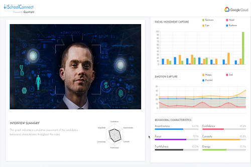 Video interview analysis tool analyzing the facial expressions of the candidate