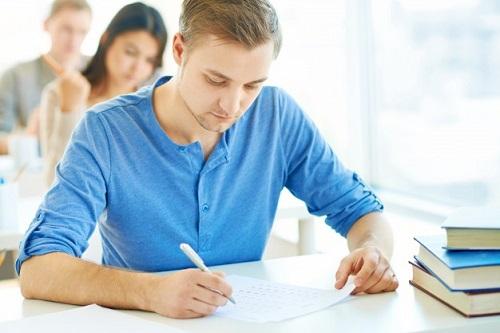 Boy giving his IELTS exam
